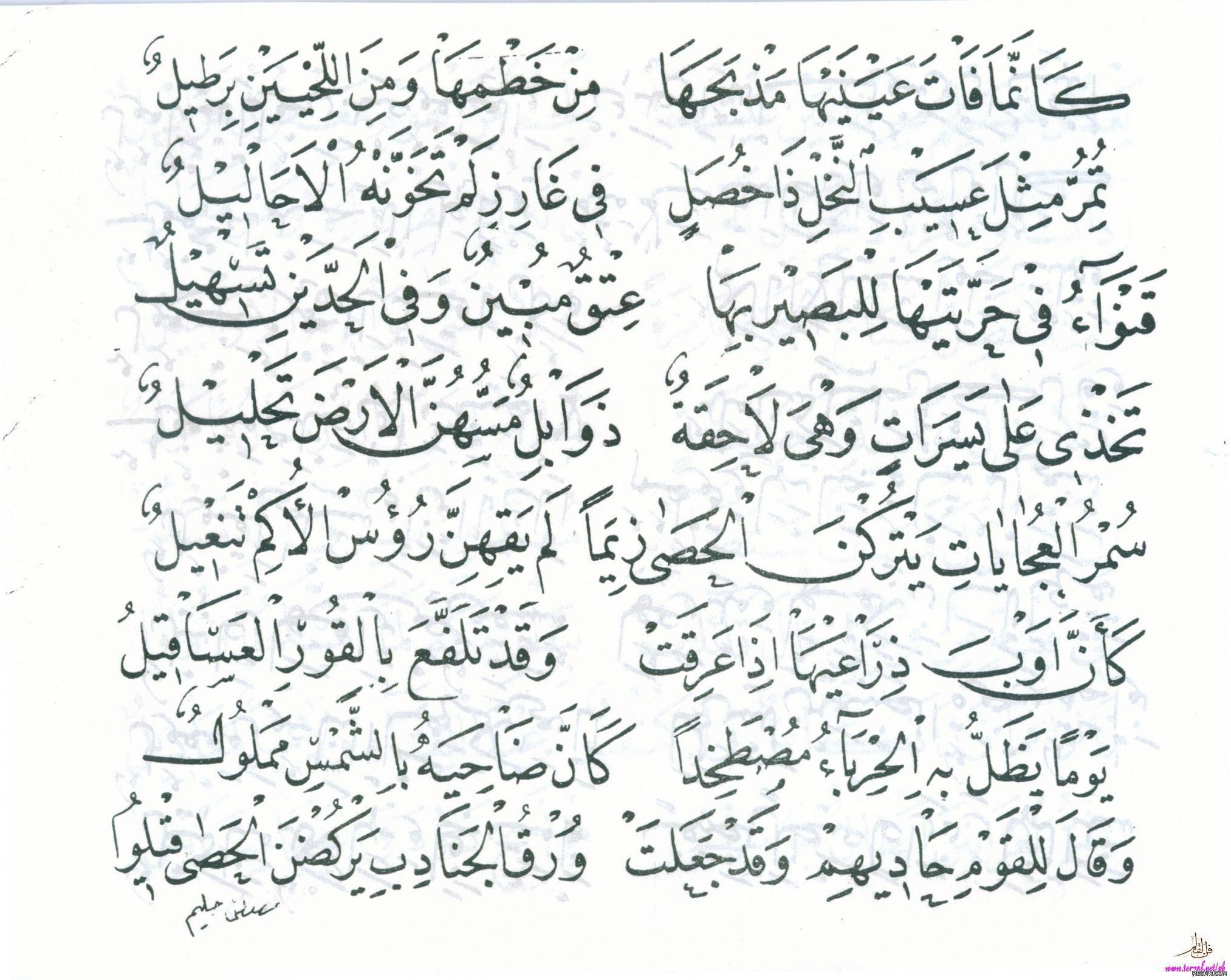 قصيدة بانت سعاد لكعب بن زهير رضي الله عنه بخط مصطفى حليم 6