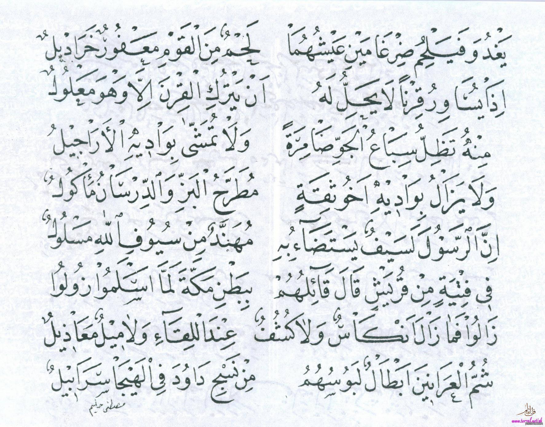 قصيدة بانت سعاد لكعب بن زهير رضي الله عنه بخط مصطفى حليم 7