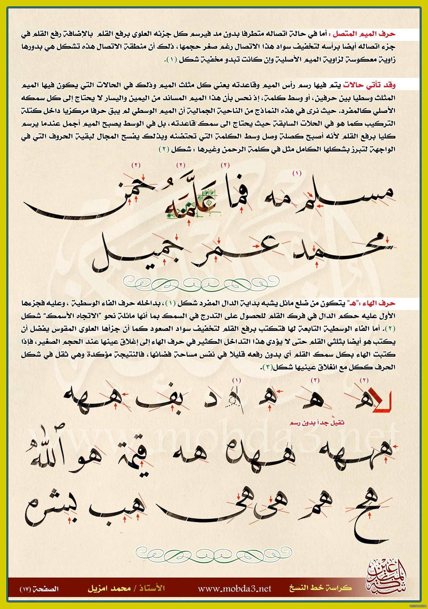 أسرار الرسم في خط النسخ - محمد أمزيل 10