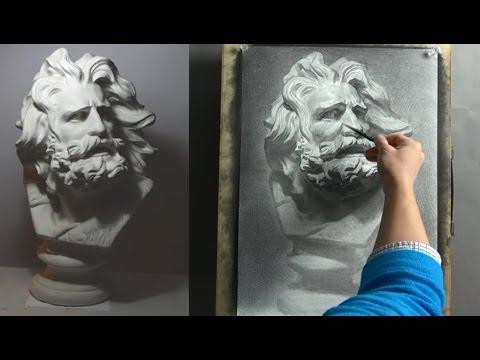 How To Draw Plaster cast Урок рисования гипсовой головы