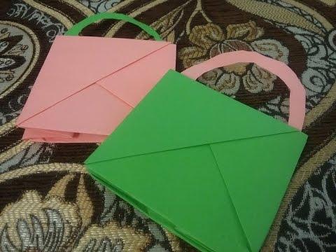كيف تصنع مطوية جميله و مبتكرة على شكل حقيبة ( كيس ) من الورق ؟