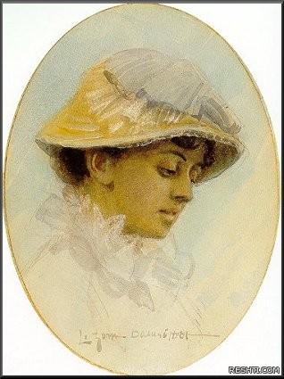 Zorn Emma Lamm i halmhatt 1881 akvarell Watercolour