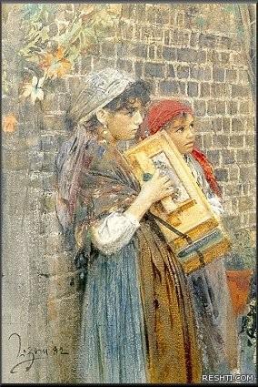Zorn Italienska gatumusikanter 1882 akvarell Watercolour